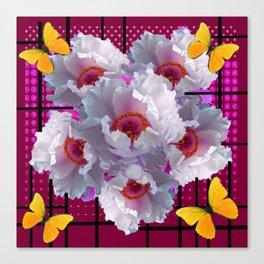BUTTERFLIES  WHITE TREE PEONY FLOWERS  BURGUNDY ART Canvas Print