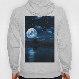 Rural forest near a river night landscape with full moon Hoody