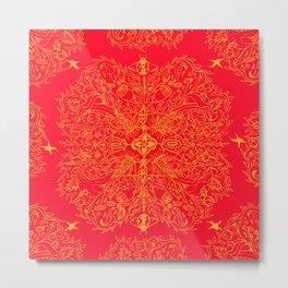 Red Ladybug Ogee Metal Print
