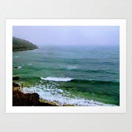 Rain on the ocean Art Print