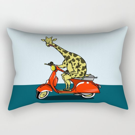 Giraffe riding a moped Rectangular Pillow