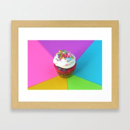 Tie Dye Cupcake Framed Art Print