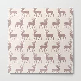 Mid Century Modern Deer Pattern Beige 3 Metal Print