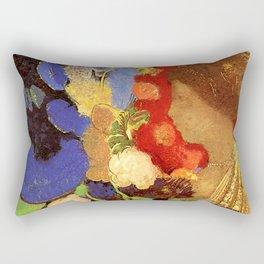 "Odilon Redon ""Woman among the Flowers"" Rectangular Pillow"