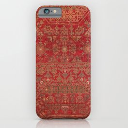 Bohemian Medallion II // 15th Century Old Distressed Red Green Colorful Ornate Accent Rug Pattern iPhone Case