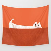 rothko Wall Tapestries featuring Mark's Superpower: cat Superstretch by Picomodi