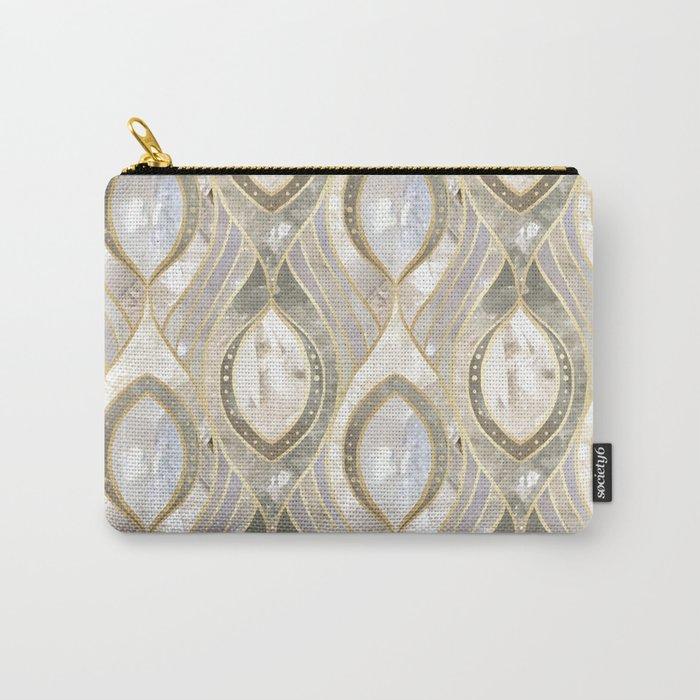 White Quartz & Gold Elegant Pattern Carry-All Pouch