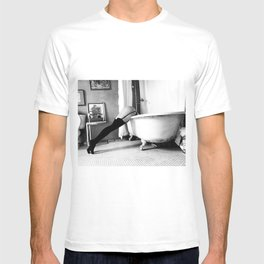 Head Over Heals - Female in Stockings in Vintage Parisian Bathtub black and white photography - photographs wall decor T-shirt