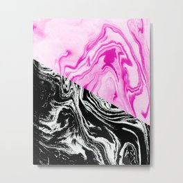 marble bold millennial pink and black white trendy dorm college decor Metal Print