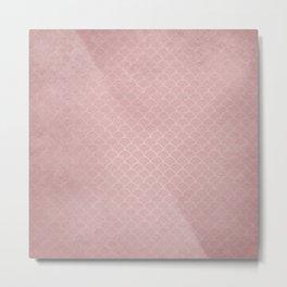 Grunge textured rose quartz small scallop pattern Metal Print
