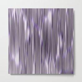 soft monochrome ikat stripe with purple accent Metal Print