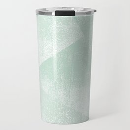 Mint Green and White Geometric Triangles Lino-Textured Print Travel Mug