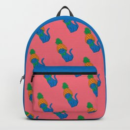 Blue Cat Wears Pineapple Hat Backpack