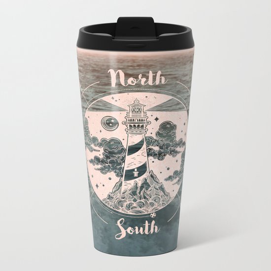 Compass Sunset Sea Dreams Metal Travel Mug