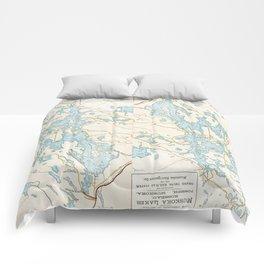 Vintage Muskoka Lakes Map Comforters