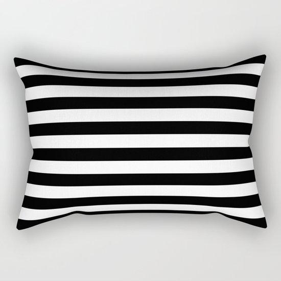 Horizontal Stripes (Black/White) Rectangular Pillow