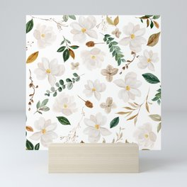 Magnolia Watercolor Floral Pattern Mini Art Print
