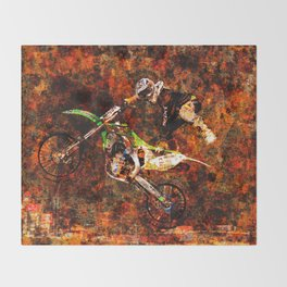 """On Fire"" Freestyle Motocross Rider Throw Blanket"