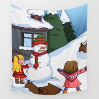 snowman Wall Tapestries featuring Snowman by TubaTOPAL