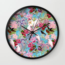 Vintage & Shabby Chic - Pink Tropical Birds and Orchid Flower Pattern Wall Clock
