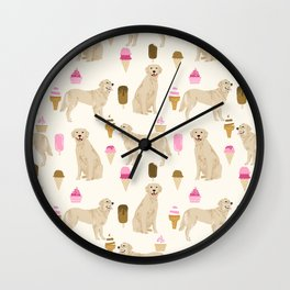 Golden Retriever dog breed pet portrait ice cream custom pet illustration by pet friendly Wall Clock