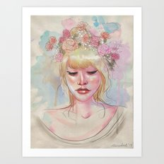 Watercolors and Floral Crowns Art Print