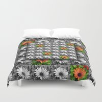 leah flores Duvet Covers featuring Flores by Henry Daniel