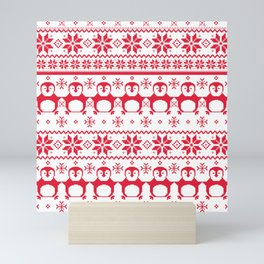 Red Scandinavian Penguin Holiday Design Mini Art Print
