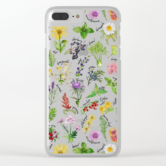 Plants & Herbs Alphabet Clear iPhone Case by thekindredpines