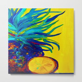 Blue Pineapple Abstract Metal Print