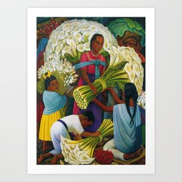 Classical Masterpiece 'The Flower Vendor' by Diego Rivera Art Print