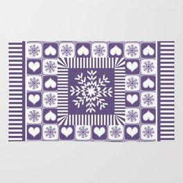 Purple Hearts and Snowflakes Ski Season Rug
