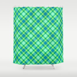Mid-Century Modern Plaid, Jade Green, Turquoise and Blue Shower Curtain