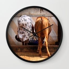 Indian Women and Cow Wall Clock