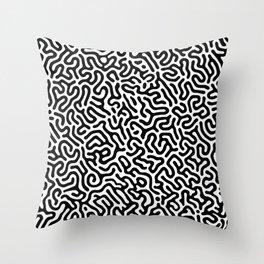 Black and White Organic MAZE Pattern Throw Pillow