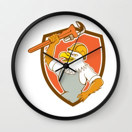 Bald Eagle Plumber Monkey Wrench Shield Cartoon Wall Clock