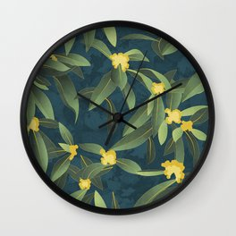 Loquat medlar tree in Autumn I Wall Clock