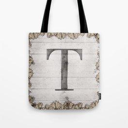 Neutral Monogram T Tote Bag