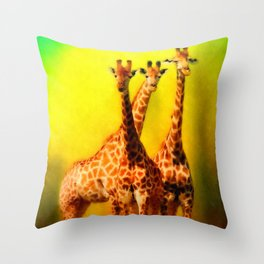 The Welcoming Committee - 3 Giraffes Throw Pillow