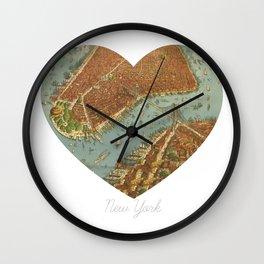 NYC Heart Map, New York Brooklyn Bridge, Vintage Map Wall Art, Travel, Fine Art Print Square Wall Clock