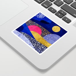 Terrazzo galaxy blue night yellow gold pink Sticker