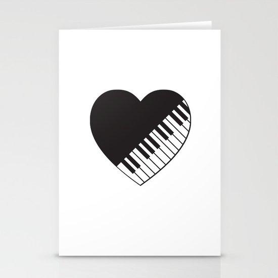 Piano Heart Stationery Cards