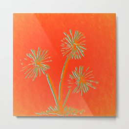 Red Orange Dandelion Metal Print