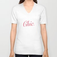 chic V-neck T-shirts featuring Chic by AlfredHuxley
