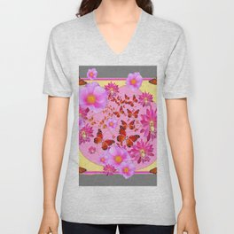 Monarch Butterfly Floral Cream-grey  Abstract Unisex V-Neck