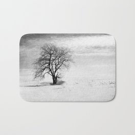 Black and White Tree in Winter Bath Mat