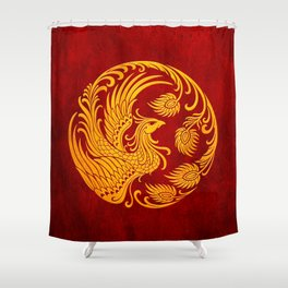Traditional Yellow and Red Chinese Phoenix Circle Shower Curtain