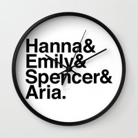 pretty little liars Wall Clocks featuring Pretty Little Liars by MLauxDesign