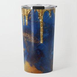 Gold Rain on Indigo Marble Travel Mug
