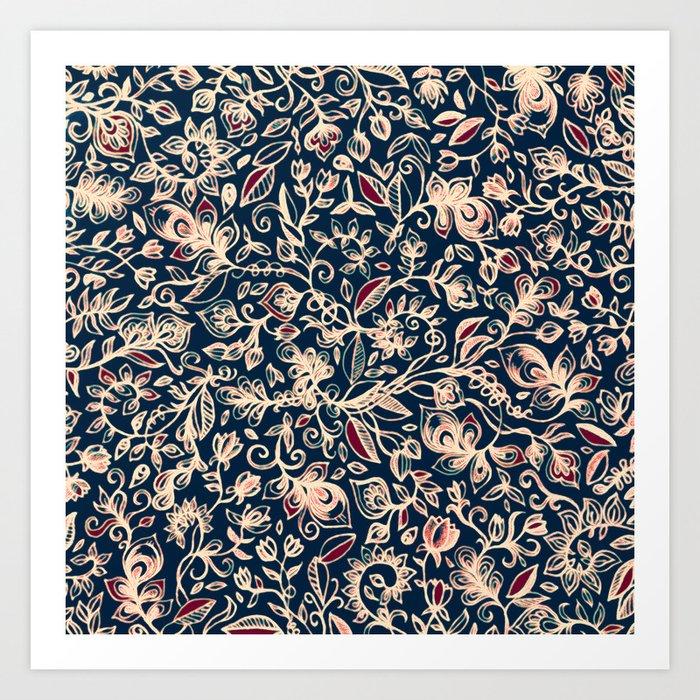 Navy Garden - floral doodle pattern in cream, dark red & blue Art Print